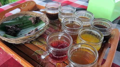 The coffee plantation offered a free sampler of some coffee and tea including regular Balinese, coconut, ginseng and cacao coffees as well as saffron, ginger, lemongrass and roselia teas. I also sampled dark, vanilla and orange flavored chocolate.